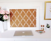 Memo / Cork / Bulletin Board / White Mediterranean Tile Pattern / Framed / Office Wedding Decor / Lattice / Black / TradeFare