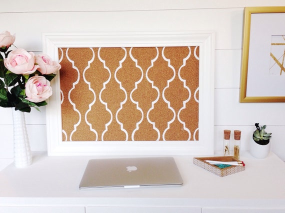 Memo / Cork / Bulletin Board / White Mediterranean Tile Pattern / Framed / Office Wedding Decor / Lattice / Black / TradeFare