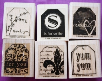 Too Terrific Tags /Set of Six/Rubber Stamps /Stampin Up /2006