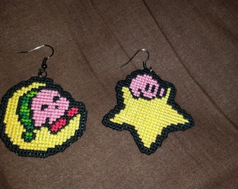 Kirby Star and Moon Earrings