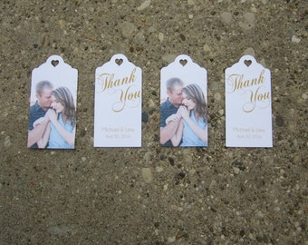 Personalized Wedding Favor Photo Tags - (50) Custom Thank You Tags, Your Photo, Your Letters.Perfect for Wedding or Party Favors