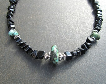 Men's Stone Necklace, African Turquoise, Black Onyx, Natural Stone, Necklace for Men, Men's Jewelry, Masculine Jewelry, Gift for Him  1143