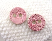 "2 x 2.5 cm pink buttons - ceramic button - rose pink buttons - 1"" - 25 mm"