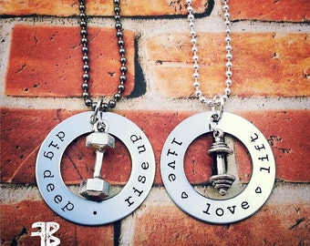 His and Hers Workout Necklaces, Set of 2, Weightlifting, Bodybuilding, SwoleMates, Couples Necklaces, Fitness Necklace, Dumbbell, Kettlebell