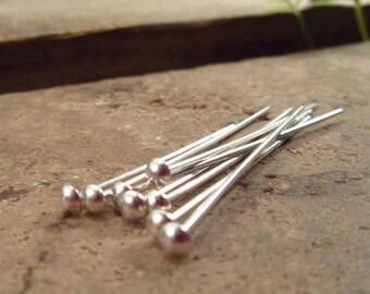 Head Pins Silver 1.5 inch 20g 10 pcs R2003 - Silver Headpins, 1.5 Inch Headpins, 20 Gauge Headpins, Handmade Headpins, Domed Headpins