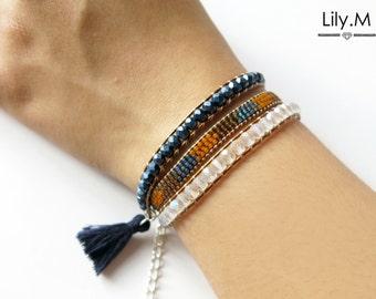 Bracelet 3 laps Miyuki Crystal Eye, Camel and blue NTISSA, Lily.M