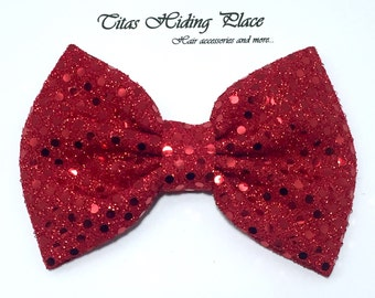 Christmas Hair Bow, Red Bow, Sequin Red Clip, Glitter Baby Bow, Baby Head Band, Red Bow Clip, Fabric Bow, Cyber Monday