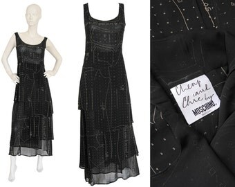 "MOSCHINO 1990s Vintage ""Sewing Pattern"" Maxi Dress Dress Black Transparent Cheap and Chic US Size 6-8 Small Medium"