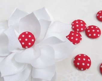 Red Fabric Covered Buttons / Red and White Polka Dot Flatback  Buttons / 15mm