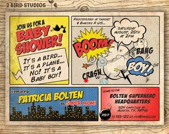 Superhero baby shower invitation - Boy baby shower invites - Super hero baby shower - superhero invitation add on diaper raffle - you print