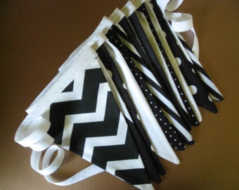 Pennant Banner, Bunting, Flag Banner, Banners 9 feet long, Black and White, Wedding, Picnic, Country, Birthday