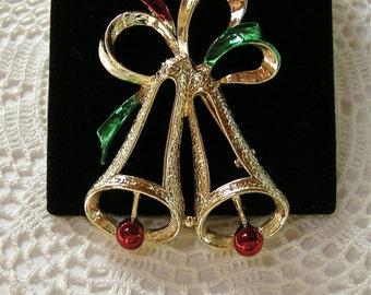 Signed GERRYS Holiday Bells Brooch Pin  circa 1970