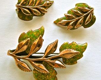 MATISSE RENOIR Enamel & Copper LAUREL Brooch and Earrings Set  Circa 1970