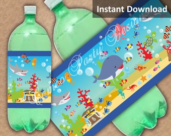 Under the Sea Party Decorations, Two Liter Soda Label, Kids Party Printables, DIY Party Decorations, Instant Download