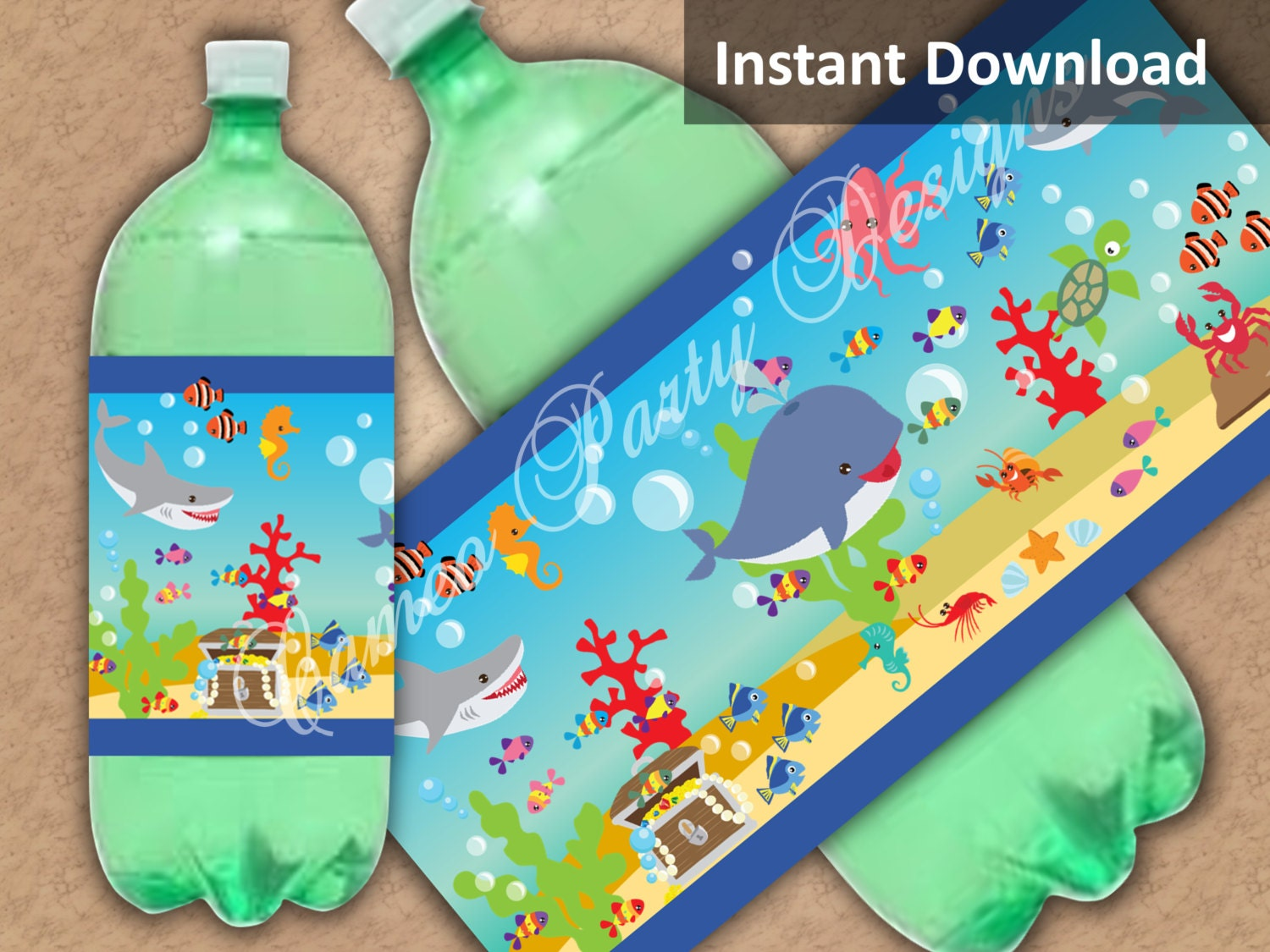 Under The Sea Party Decorations Two Liter Soda Label Kids