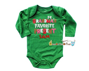Personalized Grandma Favorite Present Christmas Statement Onesie for Baby First Christmas, Green Long Sleeve Bodysuit, Top, Shirt Photo Prop