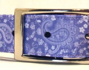 LAVENDER (LILAC)  PAISLEY on a Purple Nylon Collar ....Large Dog Collar ....Matching Leash