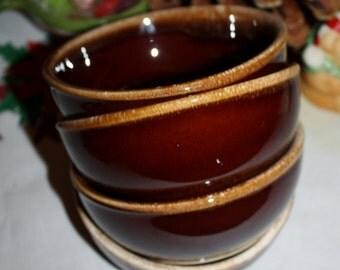 Vintage Brown USA 5 Inch Bowls Brown Drip Hull Mccoy Cereal Salad Bowls Set 4