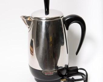 Electric Percolator Coffee Pot Farberware Chrome 1970s