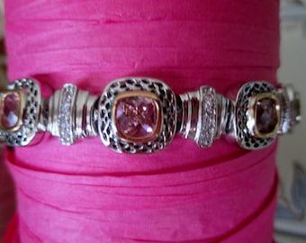 Gorgeous Pink Cushion Cut CZ Stone Bracelet in Bright Silver Setting, Double Safety Clasp, Oct. Bracelet, Pink Bracelet, Bridesmaid, Bridal