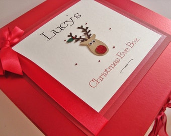 Personalised Luxury Handmade Large Pearlescent Red Christmas Eve Box Gift Box