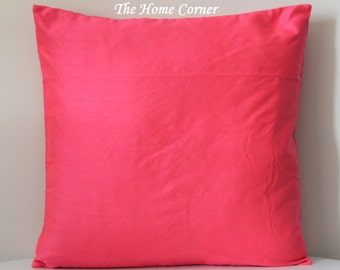 Coral Pink Pillow, 18x18 Coral Pillow, Solid Pillows, Coral Solid Pillow, Decorative Pillows, More Colors Options, Mix Match, Bright Pi