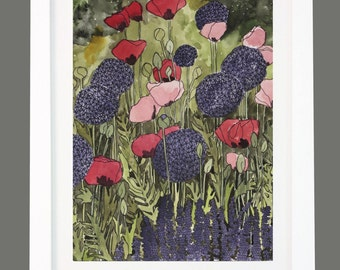 Alliums and Mixed Pink and Red Poppies Floral Garden Print A3/A4