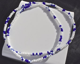 Stretch White and Blue Anklet