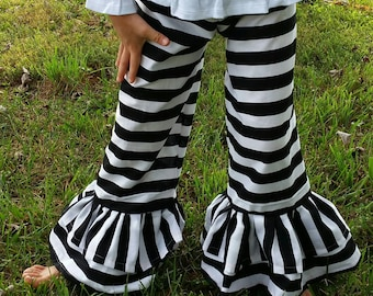 Black stripe double ruffle pants available in sizes 12m up to 8 youth