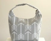 Insulated Lunch Bag, Lunch Bag For Women , Work Lunch Tote, Office Lunch Bag, Insulated Work Lunch Bag,Reusable Lunch Tote-Gray Arrow Design