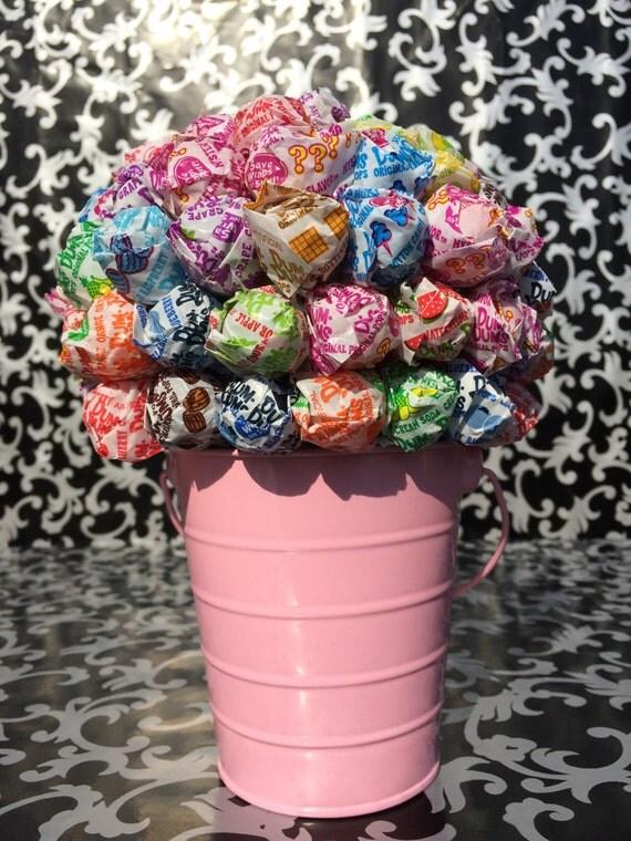 Baby pink dum lollipop bouquet centerpiece