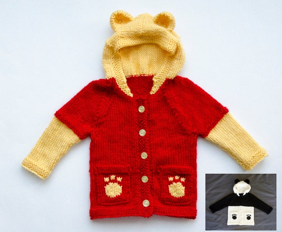Knitting Pattern Bear Hoodie : Knitting Pattern Winnie The Pooh Hoodie and Panda Bear. Baby