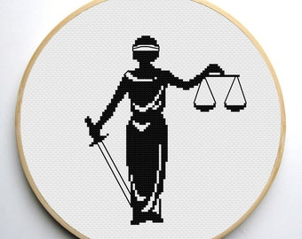 Cross stitch pattern PDF Lady Justice - symbol of justice, Instant Download