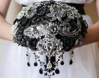 Full price! Brooch bouquet. Black and Silver crystal wedding brooch bouquet, Jeweled Bouquet.