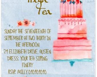 "PRINTABLE INVITATION - Watercolour ""CAKE "" - Customize Print High Tea Bridal Tea Baby Shower Invitations"