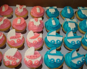 Fondant Baby Carriage Toppers and Cupcakes - 2 Dozen