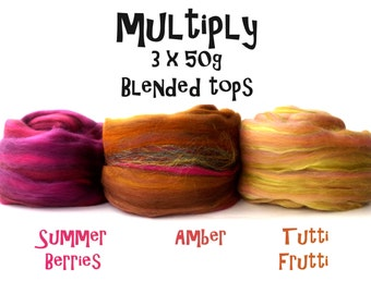 Blended tops selection - 3ply - 3 x 50g - 150g - Summer Berries - Amber - Tutti Frutti - MULTIPLY
