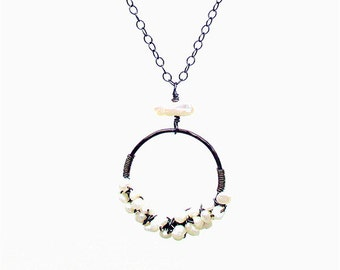 Freshwater Pearl Silver Necklace, Oxidized Sterling Silver