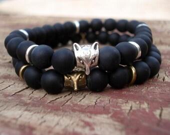Fox Jewelry, Fox Bracelet, Black Onyx Bracelet, Stackable Bracelets, Mens Bracelet, Women's Bracelet, Beaded Bracelet, Stretch Bracelet