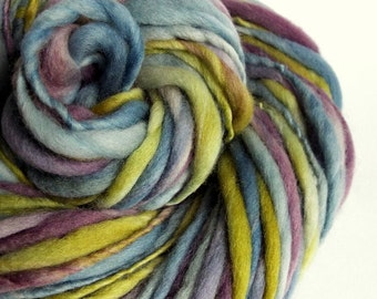 Chunky thick and thin merino knitting yarn, handspun wool in soft blue, purple and green big knitting wool