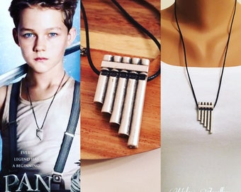 Antique Silver Peter Pan Flute Necklace, Gift, Neverland, Peter Pan Costume Jewelry, Peter Pan Cosplay, Movies Jewelry, Graduation Gift