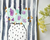 Floral Vase + Stripes - Original Watercolour + Ink Pen Art Drawing - Size A5 - (unframed)