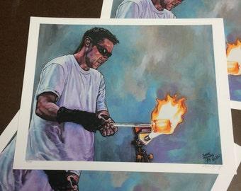 "Behind the Fire Giclee Print, ""Ryan McCluer"""