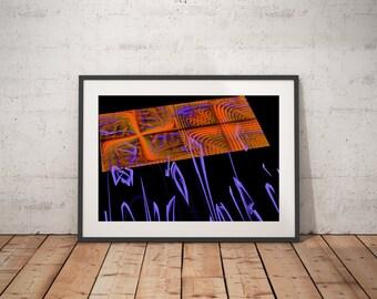 Fractal Art - Orange Abstract Art - Sacred Geometry - Blue Fractal Art Print - Fractal Art Photography - Abstract Photography - Original Art