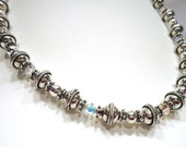 Sterling Silver Bead Necklace, Swarovski Crystal Jewelry, Beaded Jewelry, Bold Necklace,  Holiday Gift for Her, Crystal Necklace