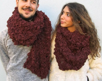 Chunky Knit Unisex Scarf Cowl Handknit Mom gift Dad gift - COUPLE of TWO Big SCARVES in Burgundy-brown