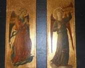 Pair of Florentine Wood Wall Plaques Religious Angels Gold Gilt Gesso Pictures Italian Wall Hanging