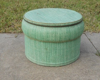 Funky Vintage Ottoman Pouf Seat Bench with Storage Foot Stool Round Table