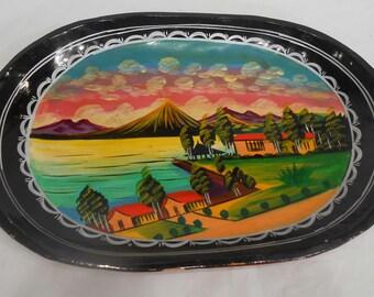 Vintage Vibrant Hand Painted Folk Art Scene Wood Platter Tray Plate Serving Dish