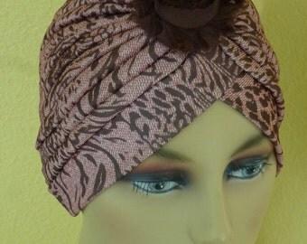 Chemo Brown tones Print Turban with Black DecorativeFlower,  Print Turban with Decorative Pin
